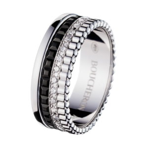 Boucheron Quatre Black Edition Small Ring With Diamonds