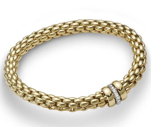 Fope браслет FLEX'IT NIUE Yellow Gold Diamonds 417B BBRM