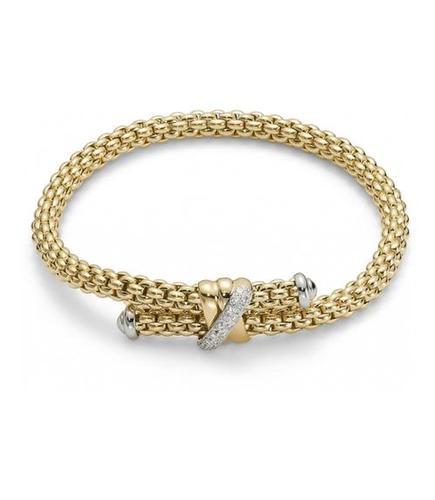 Fope браслет FLEX'IT SOLO Yellow Gold Crossover Diamond 636B BBRM