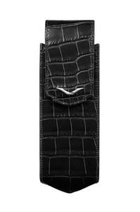 Вертикальный чехол Vertu Signature S из черной кожи аллигатора с отделкой из стали