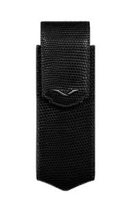 Вертикальный чехол Vertu Signature S из черной кожи ящерицы с черным с PVD-покрытием