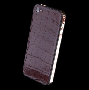 IPHONE 4 LUXURY RED GOLD BROWN ALLIGATOR