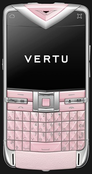 VERTU CONSTELLATION QUEST POLISHED SS SAPPHIRE KEYS PINK LEATHER