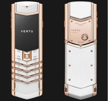 VERTU Signature Pure White Red Gold Diamonds