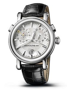 Arnold & Son GMT II Compass Rose (SS / Silver / Leather)