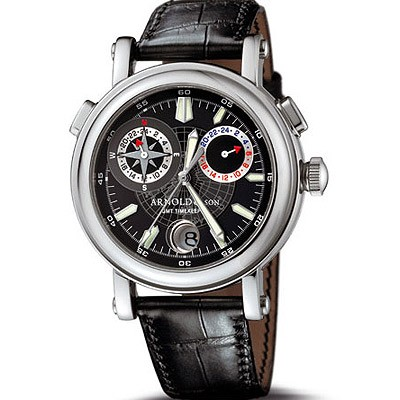 Arnold & Son GMT II Steel Compass Rose (Steel / Black / Leather)