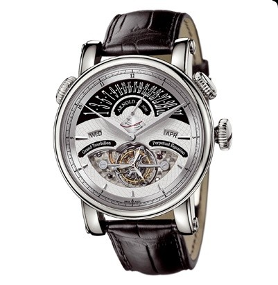 Arnold & Son Grand Tourbillon (WG / Silver / Leather)