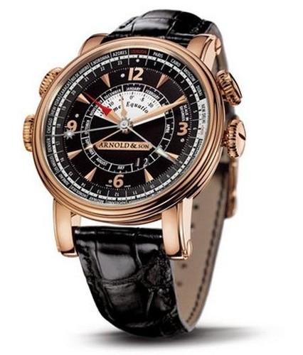 Arnold & Son Hornet Worldtimer (RG / Black / Leather)