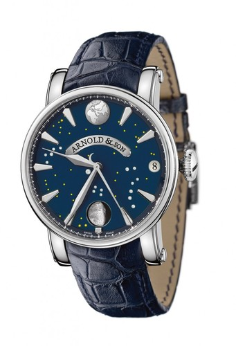 Arnold & Son True Moon (SS / Blue / Leather)