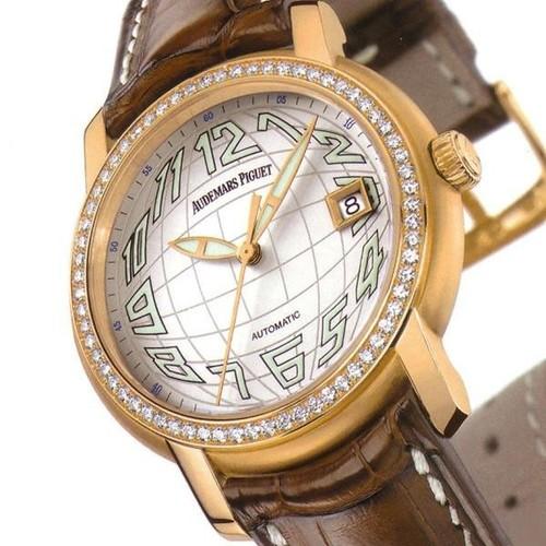 Audemars Piguet Jules Audemars Date (PG-Diamonds / Silver-Arabic / Leather)