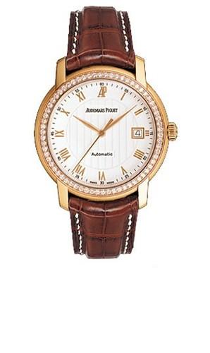 Audemars Piguet Jules Audemars Date (PG-Diamonds / Silver / Leather)