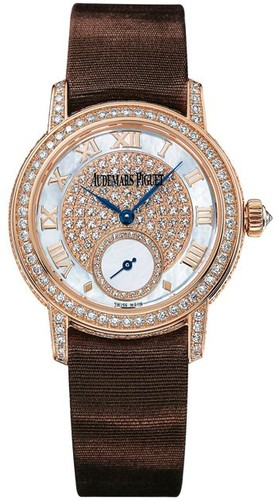 Audemars Piguet Jules Audemars Lady (RG-Diamonds / MOP-Diamonds / Brown Satin Strap)