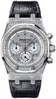 Audemars Piguet Royal Oak Chronograph (WG-Diamonds / Diamonds-Blue MOP / Leather)