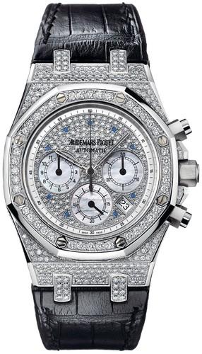 Audemars Piguet Royal Oak Chronograph (WG-Diamonds / Diamonds-Blue MOP / Leather)