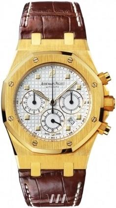 Audemars Piguet Royal Oak Chronograph (YG / White / Leather)