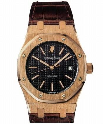 Audemars Piguet Royal Oak Date (RG / Black / Leather Strap)