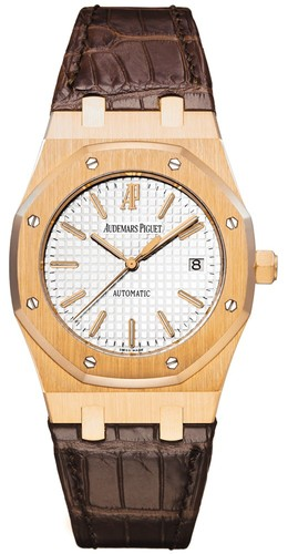 Audemars Piguet Royal Oak Date (RG / White / Leather)