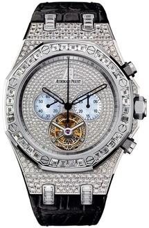 Audemars Piguet Royal Oak Diamond Chrono Tourbillon (WG / MOP / Leather)