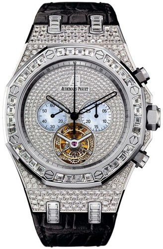 Audemars Piguet Royal Oak Diamond Chrono Tourbillon (WG / MOP / Leather)
