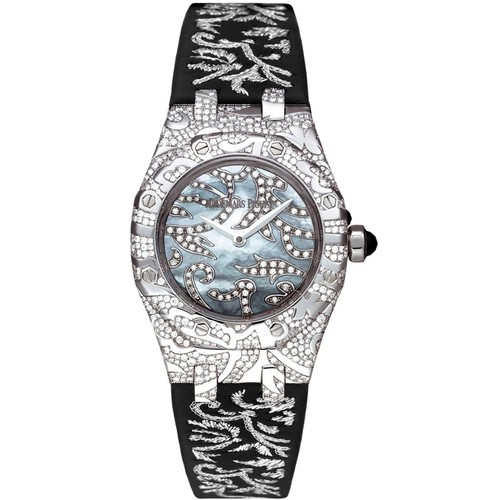 Audemars Piguet Royal Oak Ladies Oak Leaves (WG-Diamonds / MOP / Black Satin)