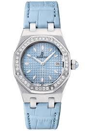 Audemars Piguet Royal Oak Ladies (SS-Diamonds / Blue / Leather)