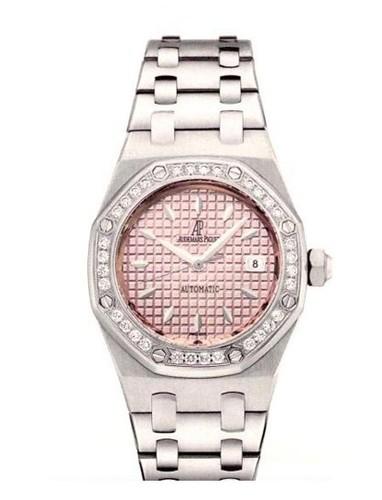 Audemars Piguet Royal Oak Ladies (SS-Diamonds / Pink / Leather)