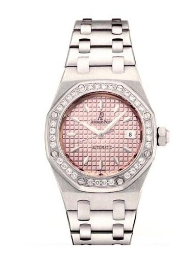 Audemars Piguet Royal Oak Ladies (SS-Diamonds / Pink / Leather)