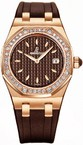 Audemars Piguet Royal Oak Lady (RG-Diamonds / Brown / Rubber Strap) 67601OR.ZZ.D080CA.01