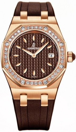 Audemars Piguet Royal Oak Lady (RG-Diamonds / Brown / Rubber Strap) 67601OR.ZZ.D080CA.01