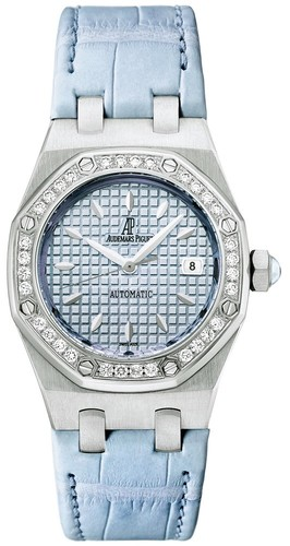 Audemars Piguet Royal Oak Lady (SS / Blue / Leather Strap)
