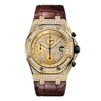 Audemars Piguet Royal Oak Offshore (YG-Diamonds / Diamonds / Leather)