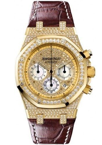 Audemars Piguet Royal Oak Pave Chronograph (YG-Diamonds / Silver / Leather)