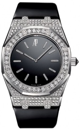 Audemars Piguet Royal Oak Tuxedo (WG / Diamonds-Black / Leather)