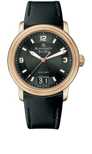 Blancpain Leman Big Date Automatic (RG / Black / Rubber)