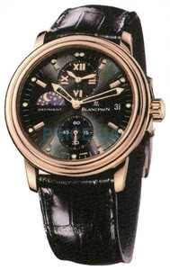 Blancpain Leman Double Time Zone (RG / Black / Leather)