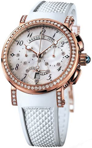Breguet Marine Chronograph Ladies (RG-Diamonds / White / Rubber) 8828BR/5D/586 DD00
