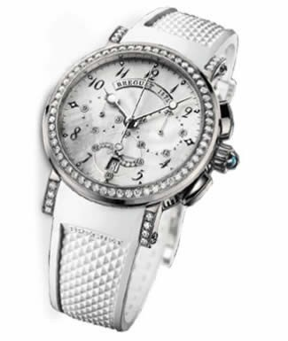 Breguet Marine Chronograph Ladies (WG-Diamonds / MOP / Rubber Strap) 8828BB/5D/586 DD00