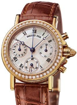 Breguet Marine Chronograph Ladies (YG / Diamonds / Leather) 8491BA/52/964 D000