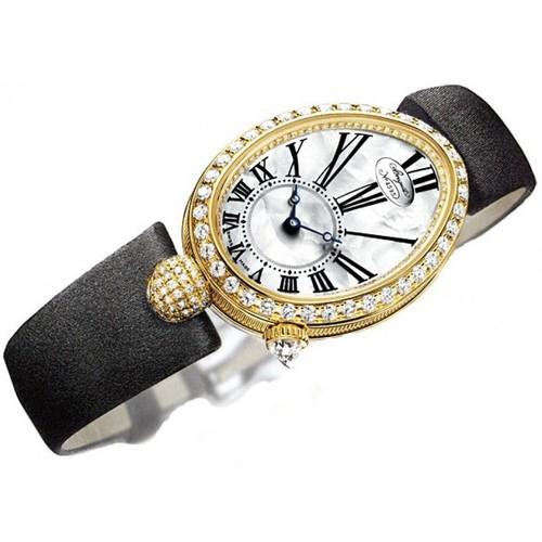 Breguet Reine De Naples (YG-Diamonds / MOP / Black Satin Strap) 8928BA/51/844 DD0D