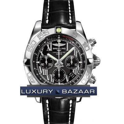 Breitling Chronomat B01 (SS / Black / Croc Leather )