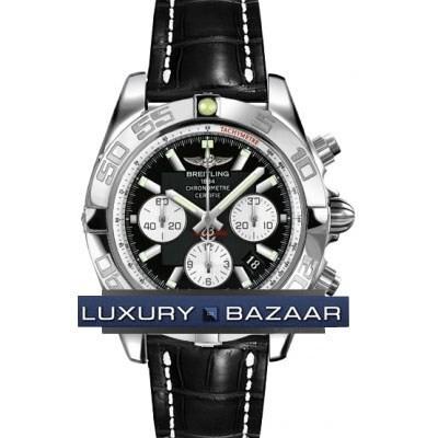 Breitling Chronomat B01 2 (SS / Black / Croc Leather )