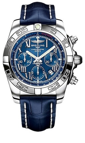 Breitling Chronomat B01 (SS / Blue / Croc Leather )