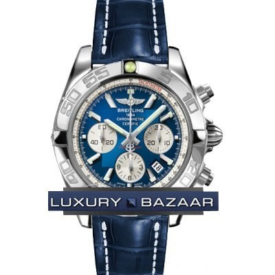 Breitling Chronomat B01 2 (SS / Blue / Croc Leather )