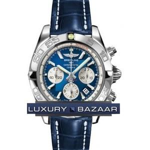 Breitling Chronomat B01 3 (SS / Blue / Croc Leather )