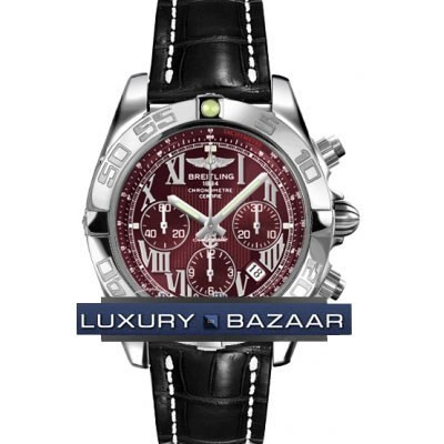 Breitling Chronomat B01 (SS / Burgundy / Croc Leather )