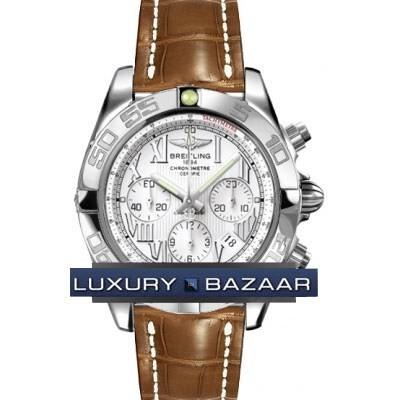 Breitling Chronomat B01 (SS / Silver / Croc Leather )