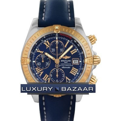 Breitling Chronomat Evolution (SS- RG / Blue / Leather )