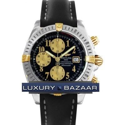 Breitling Chronomat Evolution (SS- YG / Black / Leather )