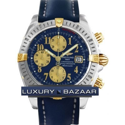 Breitling Chronomat Evolution (SS- YG / Blue / Leather )