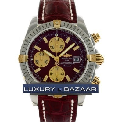 Breitling Chronomat Evolution (SS- YG / Burgundy / Croc Leather )